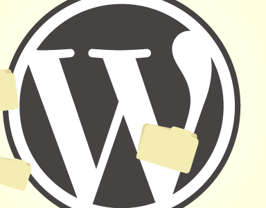Wordpress logo med filer. Illustrasjon.